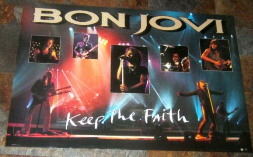 """BON JOVI original 24"""" x 36"""" VINTAGE DOUBLE SIDED KEEP THE FAITH POSTER"""