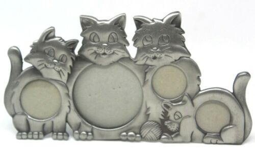 CAT COLLAGE PHOTO FRAME in PEWTER - HOLDS 4 PICTURES Cats / Kittens  #D-17