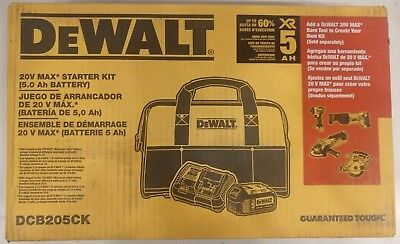 DEWALT DCB205CK 20V MAX Premium XR 5.0Ah Lithium Ion Battery and Charger Starter