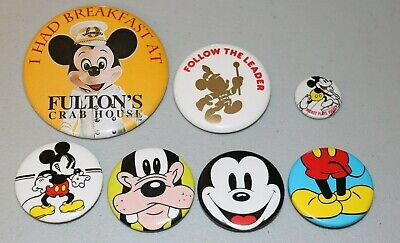 Vintage Lot Disney Mickey Mouse Pins Buttons Hockey Leader Fulton's Crab House