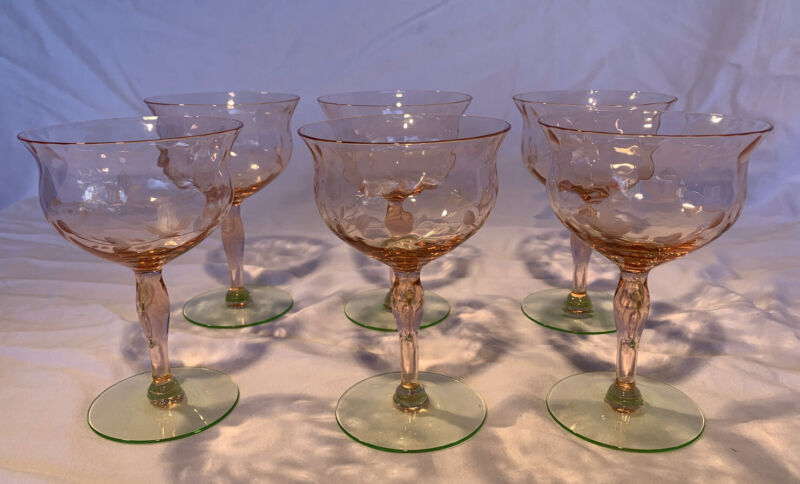 Vintage Tiffin Watermelon Pink & Green Etched  Glasses Set Of 6 30's READ!!