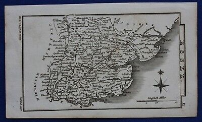 Original antique miniature county map ESSEX, Samuel Leigh, 1820-31