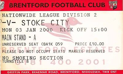 Ticket - Brentford v Stoke City 03.01.00
