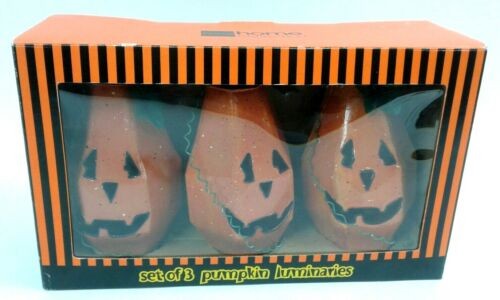HALLOWEEN Set Of 3 Pumpkin Luminaries Candles Not Included