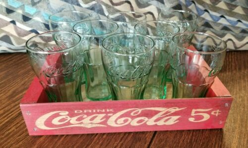 Vintage 8 Coca Cola Glasses 6 oz. With Wooden Crate Box