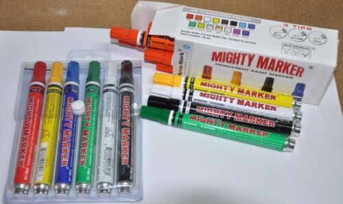 Mighty Marker Multi-Pack, 6 Paint Markers by Arro-Mark, PM-16 style, 01606