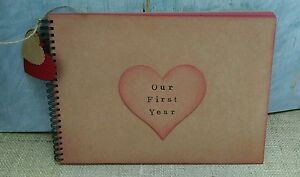 A4 rustic Scrapbook love heart first year anniversary Photo Album memory book