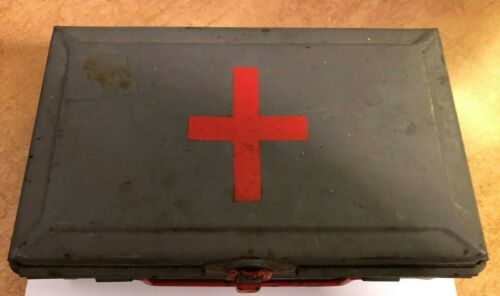 Vintage Bell System First Aid Kit Gray Metal Case 1948