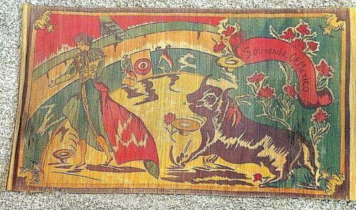 "Vintage 1940s Mexico Souvenir Matador Bull Fighter Straw Tapestry Mat 66"" x 36"""