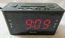 DreamSky Alarm Clock Radio AM/FM Snooze Button Large Display AC W/Battery Backup