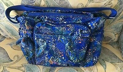 Kipling Alanna Diaper Bag Midnight Flock Peacock Crossbody Changing Pad Lovely!