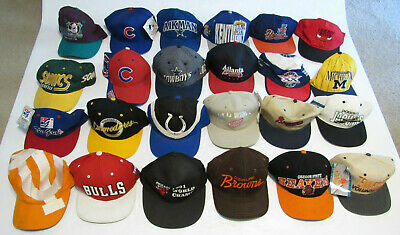 VTG Snapback Hat Lot Of 25 90s 80s Sports NHL MLB NFL NBA The Game Specialties