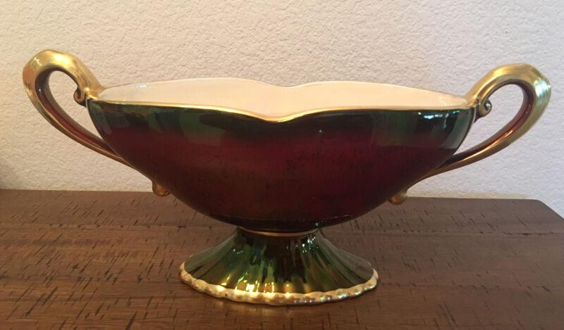 Crown Devon Rouge Red Lusterware Mantle Vase Double Handled