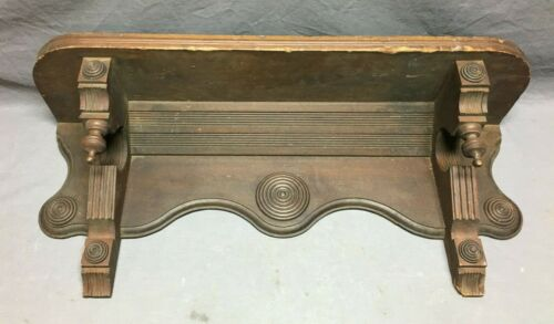 "Antique Wood Corbel Drop Down Finial Eastlake 33"" Shelf Bullseyes  1376-20B"