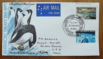 Australian Antarctic Territory: 1971 FDC, Macquarie Island cancel, to USA