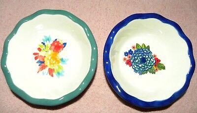 2 Pioneer Woman Stoneware Dazzling Dahlias Fiona Floral Mini Pie Pan Fruit Dish