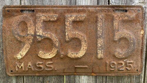 RARE 1925 Massachusetts License Plate Tag, Vintage, Original, Used