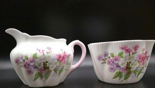 Shelley Stocks Pink, White, & Purple Flower Creamer & Sugar Set England