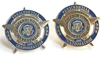CHICAGO Police 2009 BARACK OBAMA Presidential Inauguration Lapel Pin - SET of 2, used for sale  Shipping to Canada