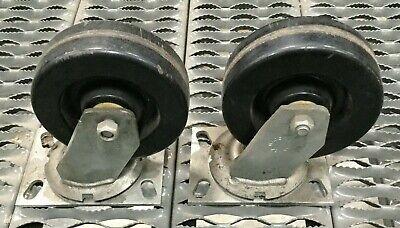 Lot Of 2 6 Rubber Caster Wheel W Swivel Mount Mfg Unknown