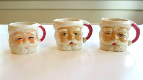 3 Santa Claus  Vintage Ceramic 1960s Eggnog Cups Nice Decoration Fast Shipping!