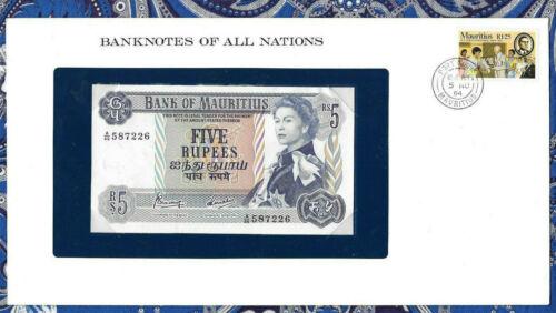 *Banknotes of All Nations Mauritius 5 Rupees 1967 AUNC P30c Prefix A/46 587226