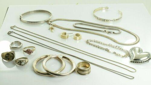 Jewelry Lot Sterling Silver  All Marked 129.6 g - Rings Bracelets Earrings ETC