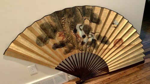 "Vintage Large Asian Hand Painted Bamboo Birds Fan Wall Art 39""×69"" Gold Metallic"