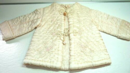 ANTIQUE Baby Infant COAT Pink Quilted Embroidered Asian Closure Ties Pom Poms