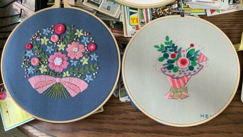 Completed Punch Needle Flowers-