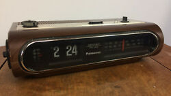 Vintage Flip Clock Alarm Radio Space Age Mid Century Modern Atomic Wood Grain