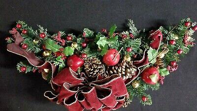 Christmas Mantel Swag Holiday Garland Custom Decorated Red Apples Balls - Christmas Mantel Decorations