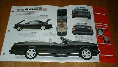 ★★1998 BENTLEY AZURE SPEC SHEET BROCHURE PHOTO POSTER PRINT 98 95-00 99 97★★