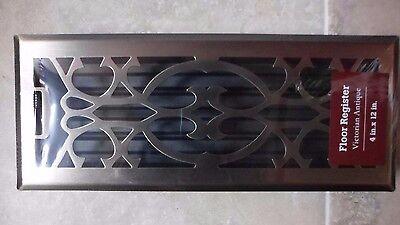 Floor Register Victorian Antique Finish Steel  4 x 12