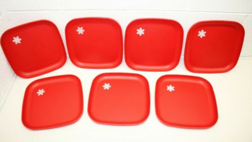 "Tupperware Lot of 7 Vintage Square Luncheon Plates #1534 RED 8"" Square Snowflake"