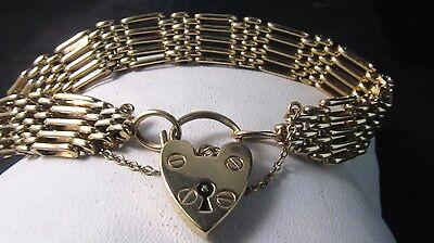 FINE European Link GOLD Heart Lock Bracelet- 7