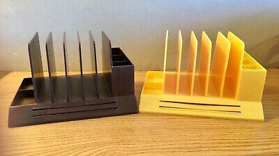 Lot Vintage Max Klein Plastic Yellow Brown Desk Letter Office Pen Organizer Mcm
