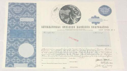 1980s INTERNATIONAL BUSINESS MACHINES IBM Stock Certificate SPECIMEN