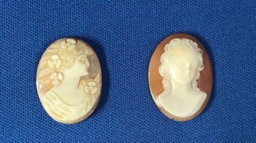 Two Beautiful Vintage Carved Shell Cameos #347