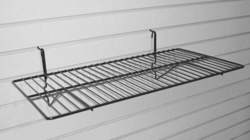 "Wire Slatwall Shelf 12"" X 24"" Slatwall, Grid, Pegboard **BOX OF 6** Black"