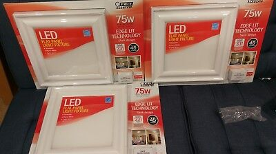 [3] Feit Electric LED Flat Panel Light Fixtures dimmable 3000k 1100 lumens each