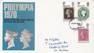 18 SEPTEMBER 1970 PHILYMPIA PO FIRST DAY COVER DURHAM FDI