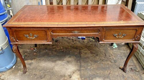 Antique Louis IV Style Desk Leather Top Cabriole Legs Carved Wood STUNNING