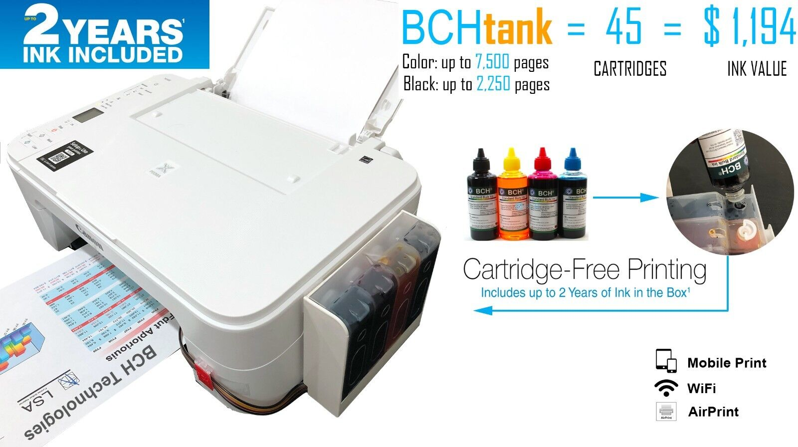 New Canon Printer with Ink System Installed: PIXMA TS3122 +