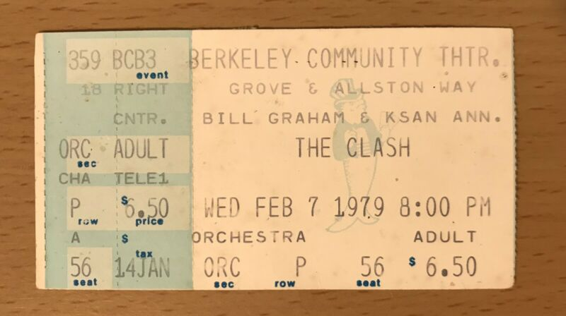 1979 THE CLASH / BO DIDDLEY BERKELEY CA. CONCERT TICKET STUB PEARL HARBOUR TOUR