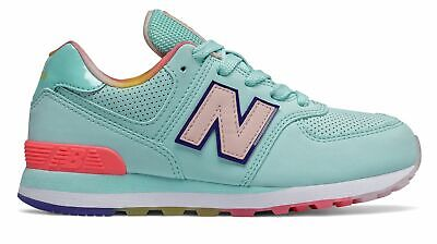 New Balance Kid's 574 Little Kids Female Shoes Blue with Pink