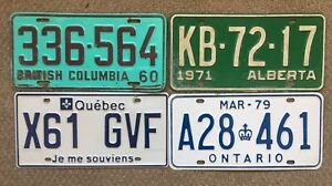 Lot of 4 - 1960s 2000s Provincial License Plates