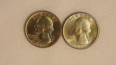 1977 P D WASHINGTON QUARTERS 2 COIN YEAR SET  25C