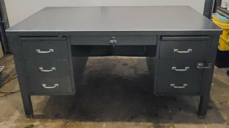 Vintage General Fireproofing Metal Tanker Desk | Original Grey | Full Size
