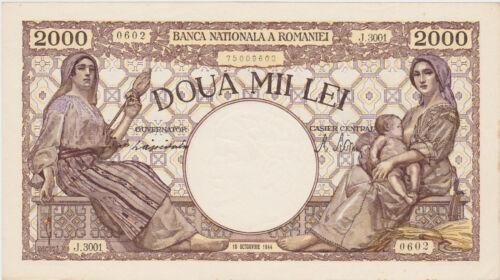 ROMANIA 2000 LEI OCTOMVRIE OCTOBER 1944 UNC
